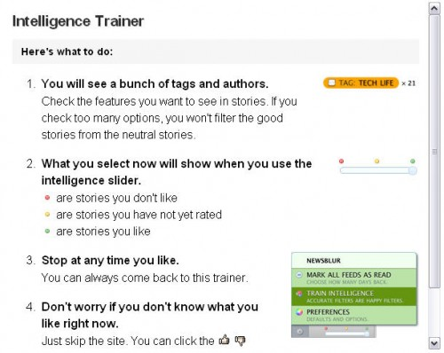 intelligencetrainer 500x398 NewsBlur is a slick, new RSS reader that intelligently makes sense out of your feeds.
