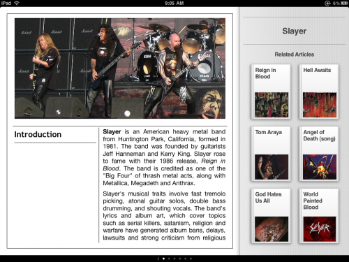 ipad slayer1 500x375 Discover By Cooliris Is The Slickest Wikipedia Skin For iPad