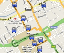 manchester bus map 260x216 Teenagers rewire bus timetables   the results are really useful