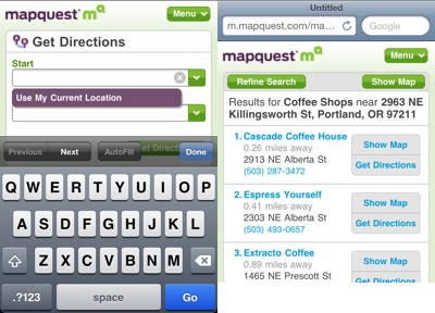 mapquest mobile Where Are All the Location Web Apps?