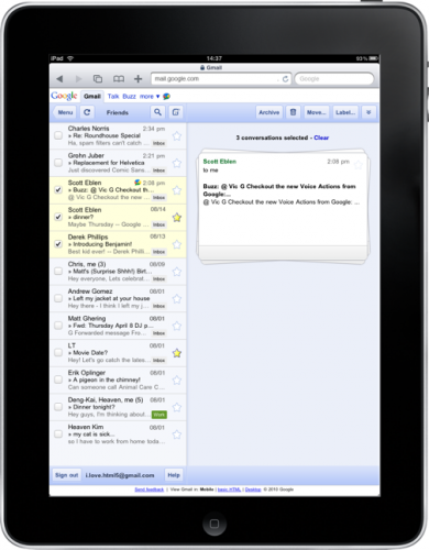 stacked cards UI 390x500 Gmail for the iPad gets a fresh new look. A hint of the Chrome tablet design?