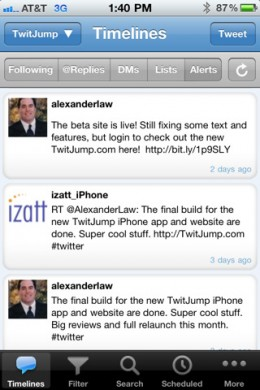 twitjump1 260x390 TwitJump springs forth as one of the top Twitter iPhone apps.