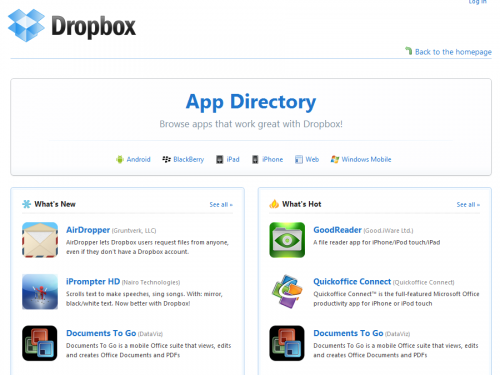 2010 09 22 0842 500x375 Dropbox updates its mobile platforms; announces BlackBerry support and App Directory