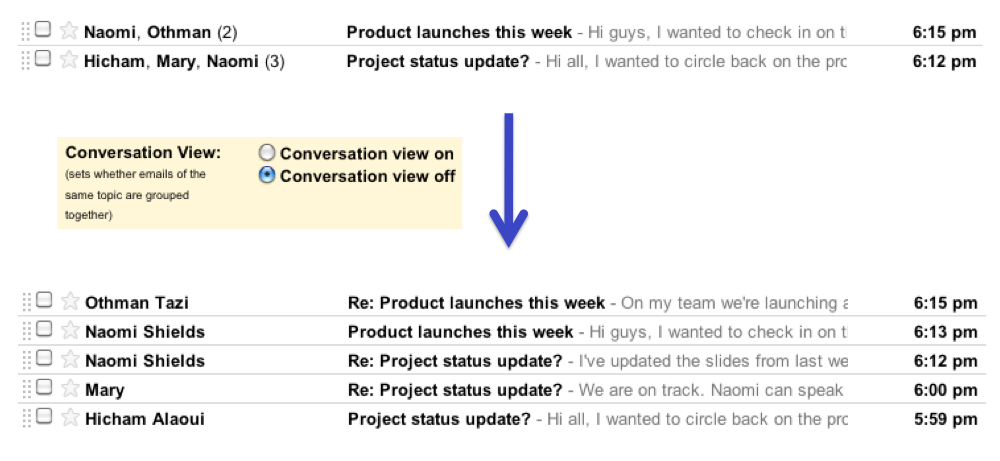 Before and after with control setting Outlook addicts rejoice: Conversation View toggle comes to Gmail