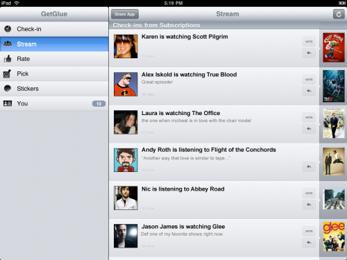 GetGlue1 500x375 GetGlue now stuck on your iPad with launch of dedicated app.