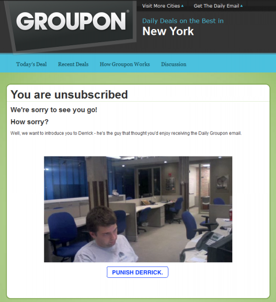 Groupon 549x600 Groupons absolutely brilliant unsubscribe page...
