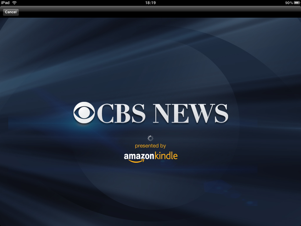 "New CBS News iPad app ""presented by Amazon Kindle"""