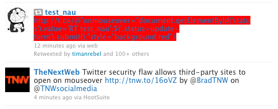 Picture 2 Twitter security flaw allows third party sites to open on mouseover [Update: Fixed]