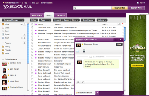 Yahoo Mail Beta with IM Final New Yahoo! Mail to let you update Facebook and Twitter from your inbox