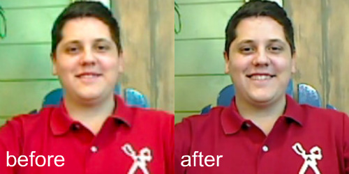 closeup before after New image enhancements come to Google video chat via Labs