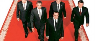 Pathetically doctored image of President Hosni Mubarak leading the group of Presidents into negotiations