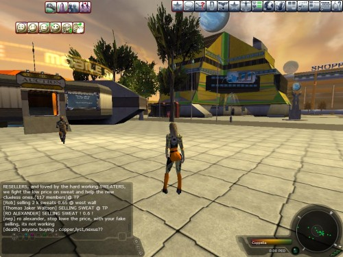 Shot taken from Entropia Universe Depicting a player heading to a shopping center