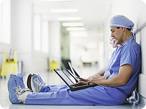 Doctors with Laptops never look serious, maybe it's because most of the time we see them with stethoscopes & blades
