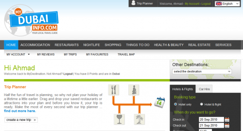 screenshot of mydestinationinfo.com