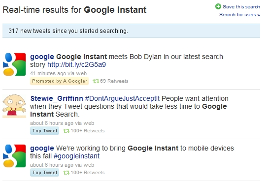 promoted Google using Promoted Tweets to pitch Google Instant