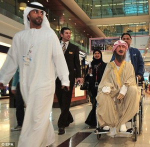 Robot Ibn Sina arriving at the airport