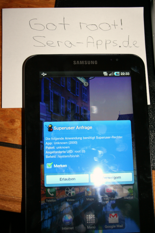 root 500x749 Samsung Galaxy Tab Rooted, A Whole Month Before Its Release