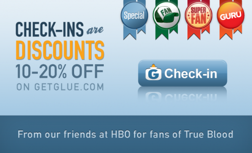 GetGlue checkins discounts 500x303 Massive GetGlue growth spawns grand new discount feature