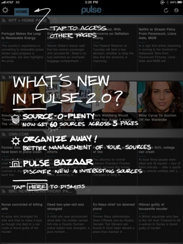 Pulse1 375x500 Pulse for iPad updated, adding 60 feeds, tabbed organization and more.
