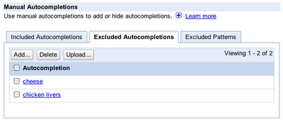 autocompletion exclude Google Custom Search now allows websites to control what shows up in autocompletes
