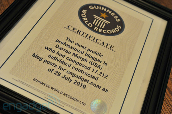 darren murph guinness world record2 Blogger earns Guinness World Record for most posts ever