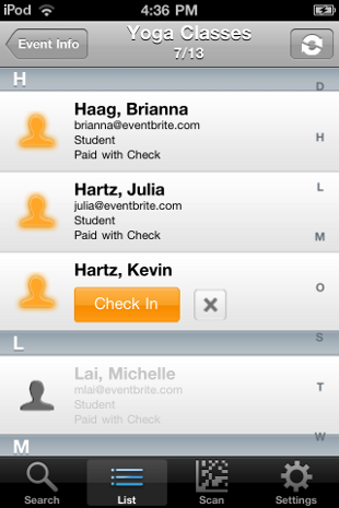 image Eventbrite iPhone app now lets organizers scan ticket barcodes