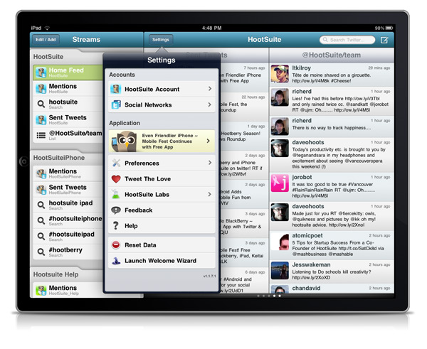 ipad settings First Look: HootSuite for iPad