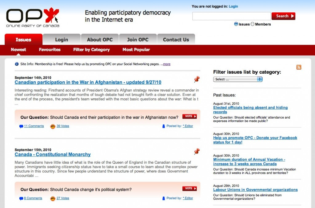 opcsite 1024x675 Online Party of Canada Wants to Shake Up Democracy