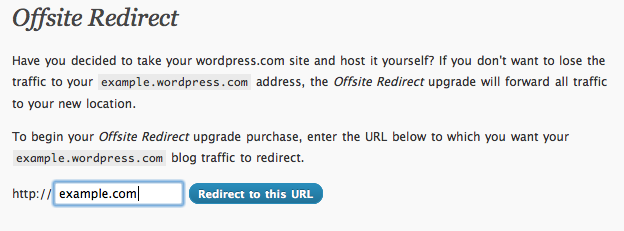 or signup example field Leaving WordPress.com? Your traffic and SEO will follow with Offsite Redirect.