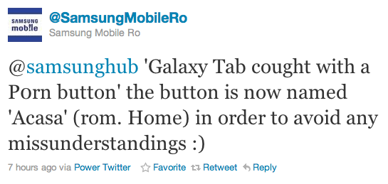 samsungtwitter Samsung moves quickly to remove Porn button from Galaxy Tab