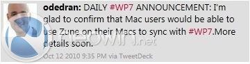 wp7 mac OS X Sync Support For Windows Phone 7 Coming Soon