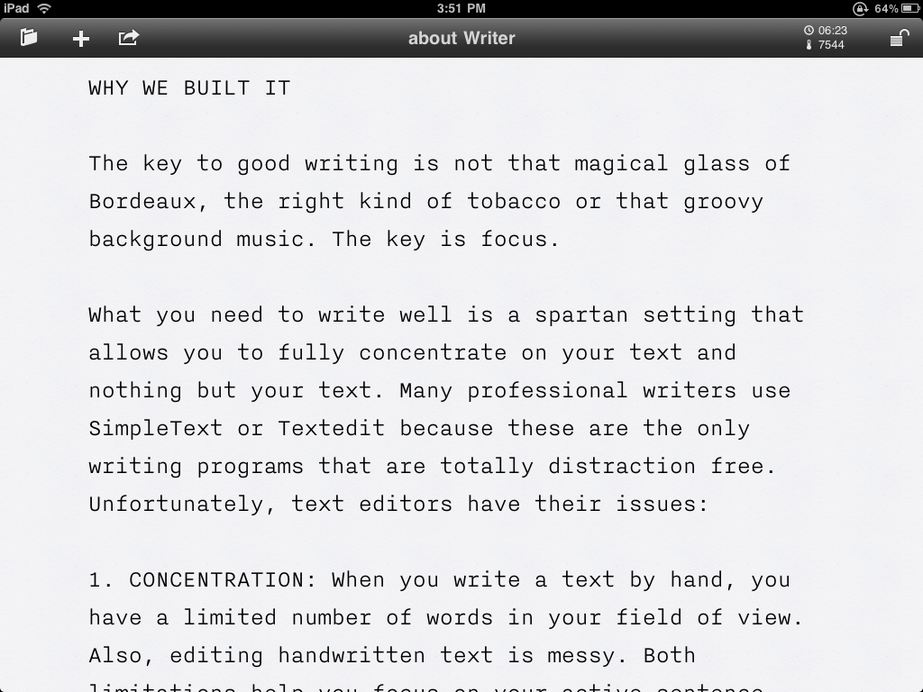 writer font Writer Is How iPad Apps Should Be Designed