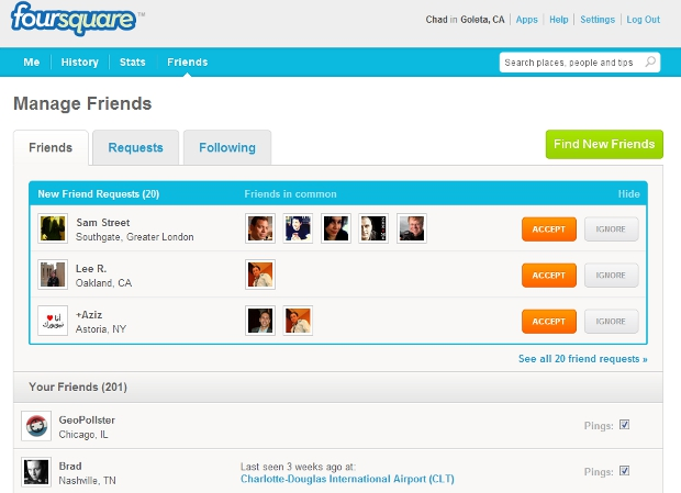 4sqm Foursquare updates website with more emphasis on inviting friends