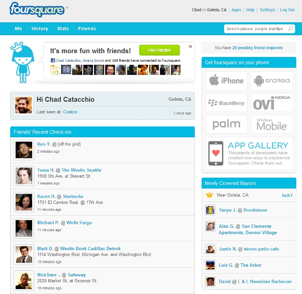 4sqw Foursquare updates website with more emphasis on inviting friends