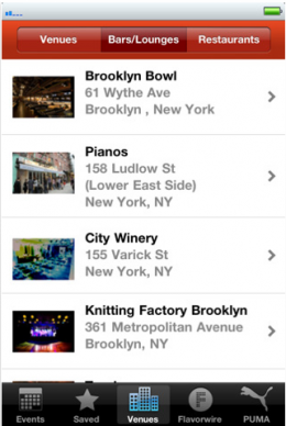 FP app venue 260x388 Try This: Flavorpills new iPhone app to help you get some culture