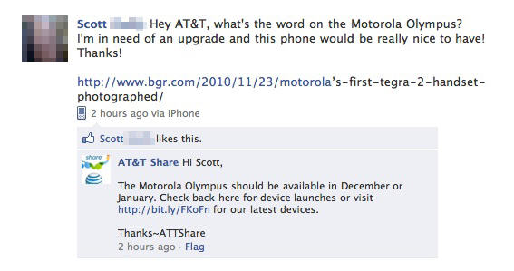 FacebookMotorolaOlympus Facebook post claims AT&Ts Motorola Olympus arriving soon