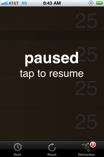 FocusizerPause 333x500 Try This: Focusizer. Pomodoro comes to the iPhone to help you focus on tasks.