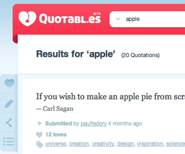 """Quotabl.es: probably the coolest way to collect quotes."" You can quote me on that."