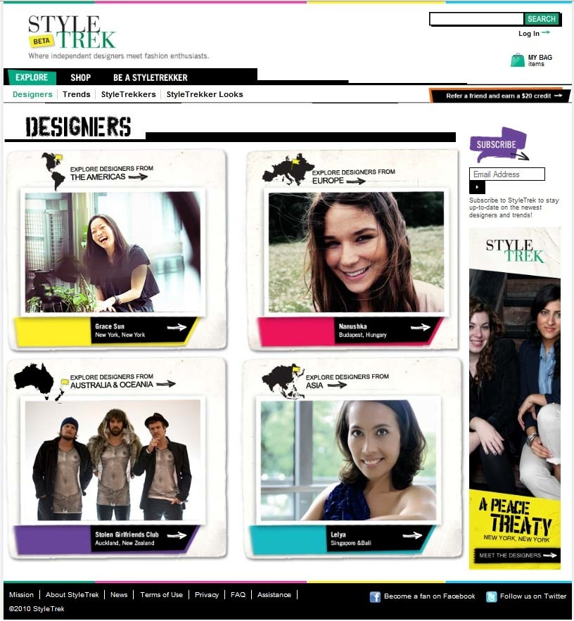 ST Designer Homepage high resolution 15 November 2010 StyleTrek, a boutique for online fashionistas, opens its virtual doors to international markets