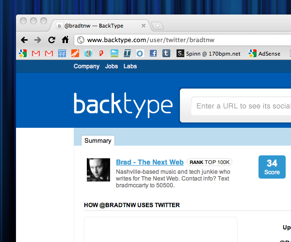 BackType gets into the influence game; starts measuring reach of Twitter accounts