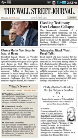 WallStreetJournalTabletEditionAndroid12 260x462 The Wall Street Journal releases app for Android tablets