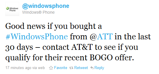 brad Bought a WP7 from AT&T before the buy one get one free deal? You may still qualify!