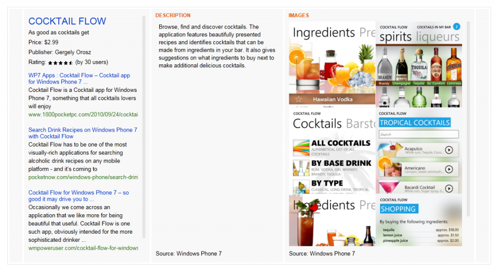cocktail 1024x554 How to use Bing to find Windows Phone 7 apps