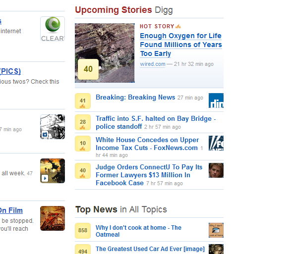 digg new Digg adds curated breaking news to its front page