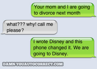 divorced Hands Down. Best iPhone Auto Correct Ever.