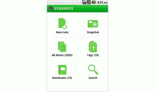 evernote android home2 500x297 Take note, Evernote gets a slick Android update