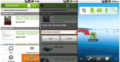 evernote android shortcut 500x260 Take note, Evernote gets a slick Android update
