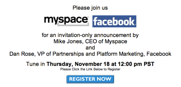 facebook announcement Facebook MySpace Announcement Thursday?