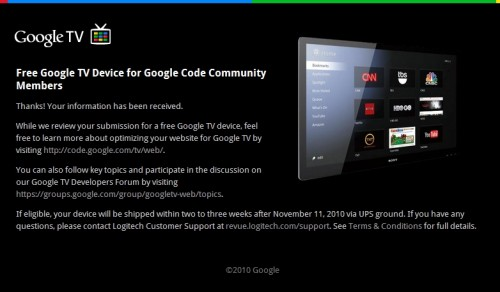 gtv3 500x292 Google starts awarding free Google TVs to developers
