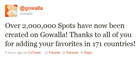 gw 2 million Spots created on Gowalla to date